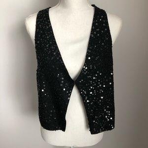 Eileen Fisher Black Silk Sequin Embellished Vest M